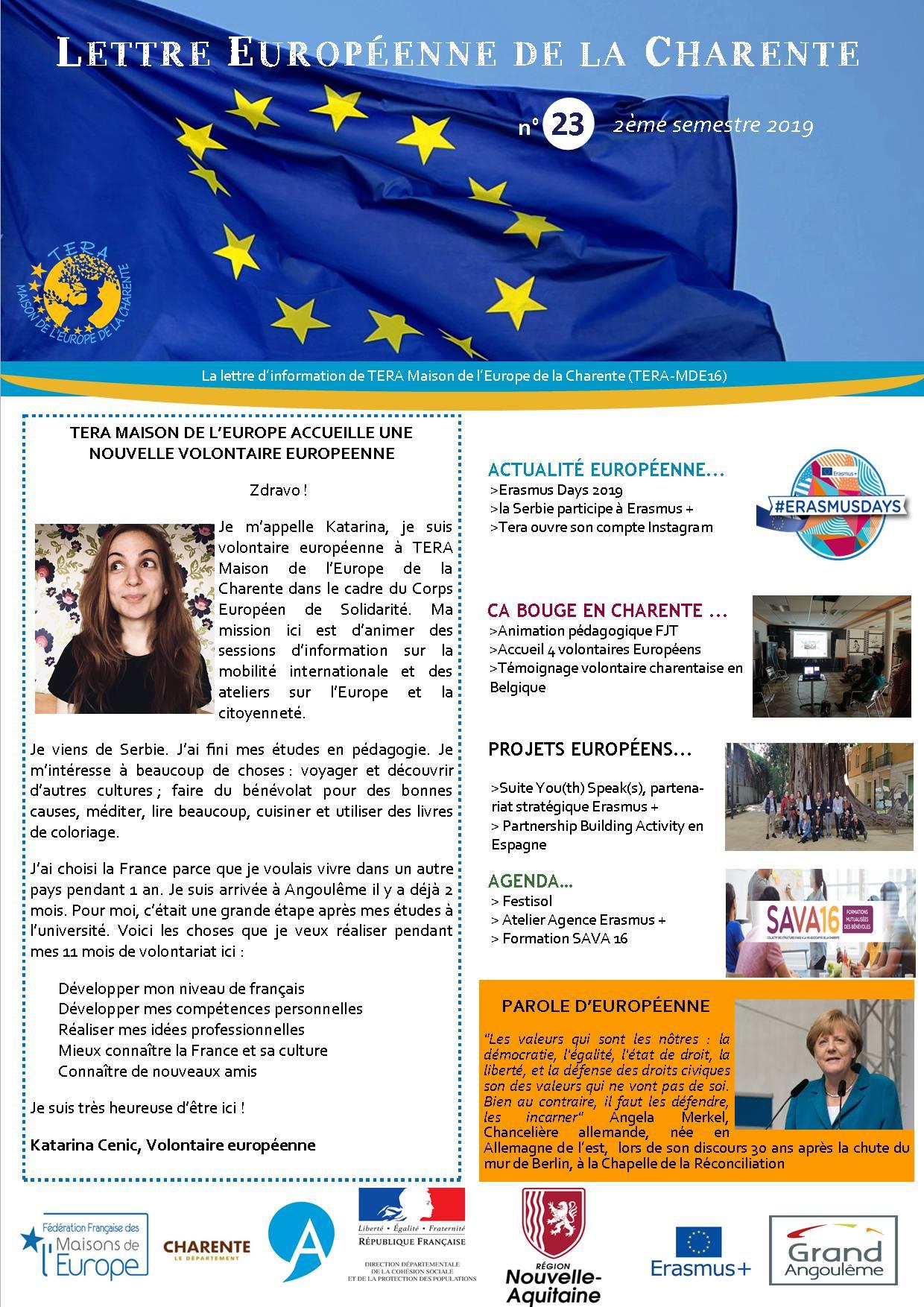 Lettre Européenne de la Charente n°23 du 2ème semestre 2019