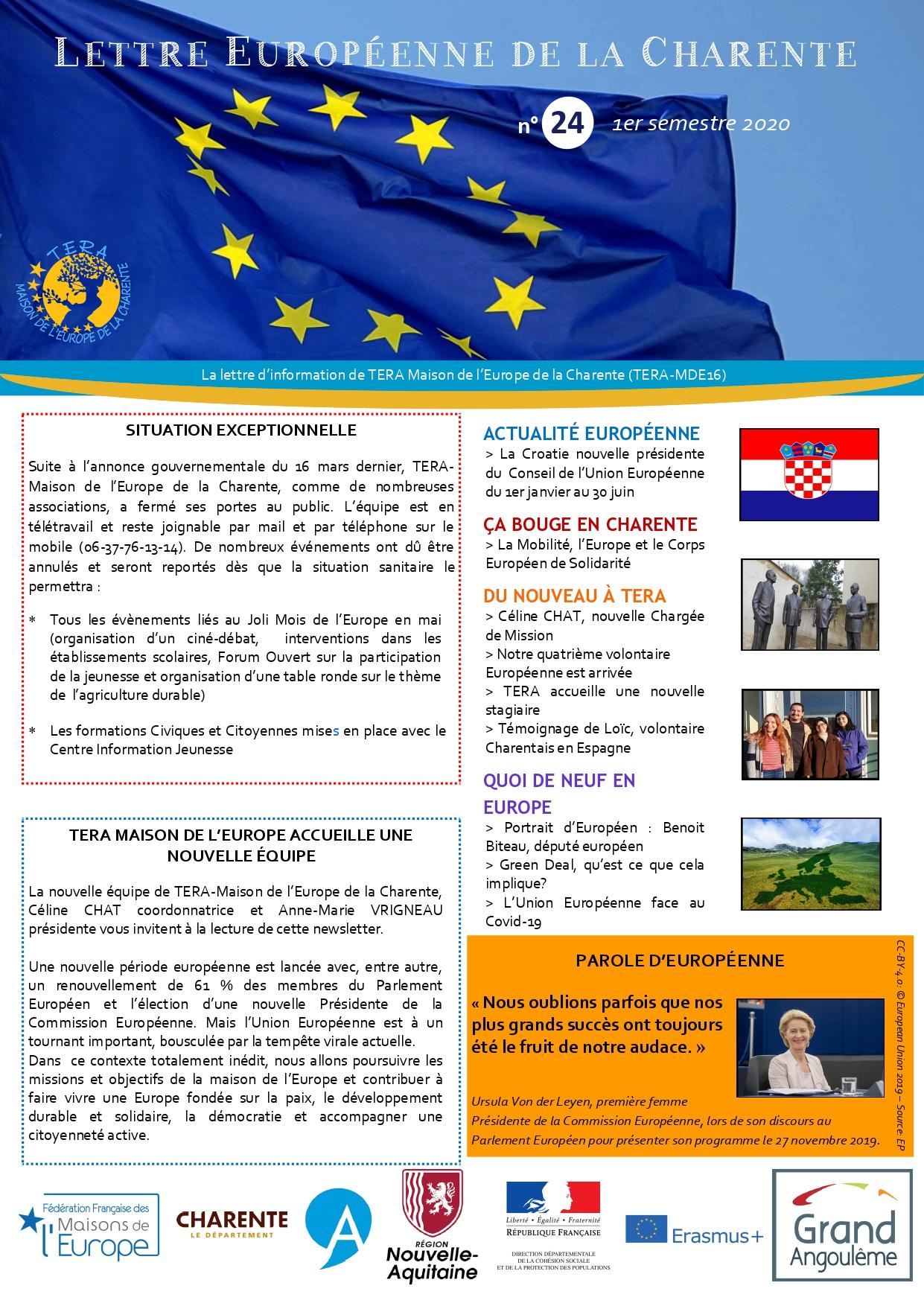Lettre Européenne de la Charente n°24 du 1er semestre 2020