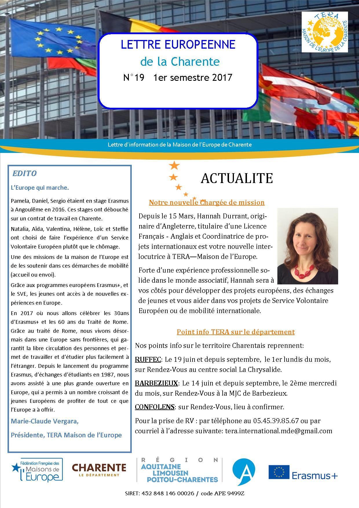 Lettre Européenne de la Charente n°19 du 1er semestre 2017