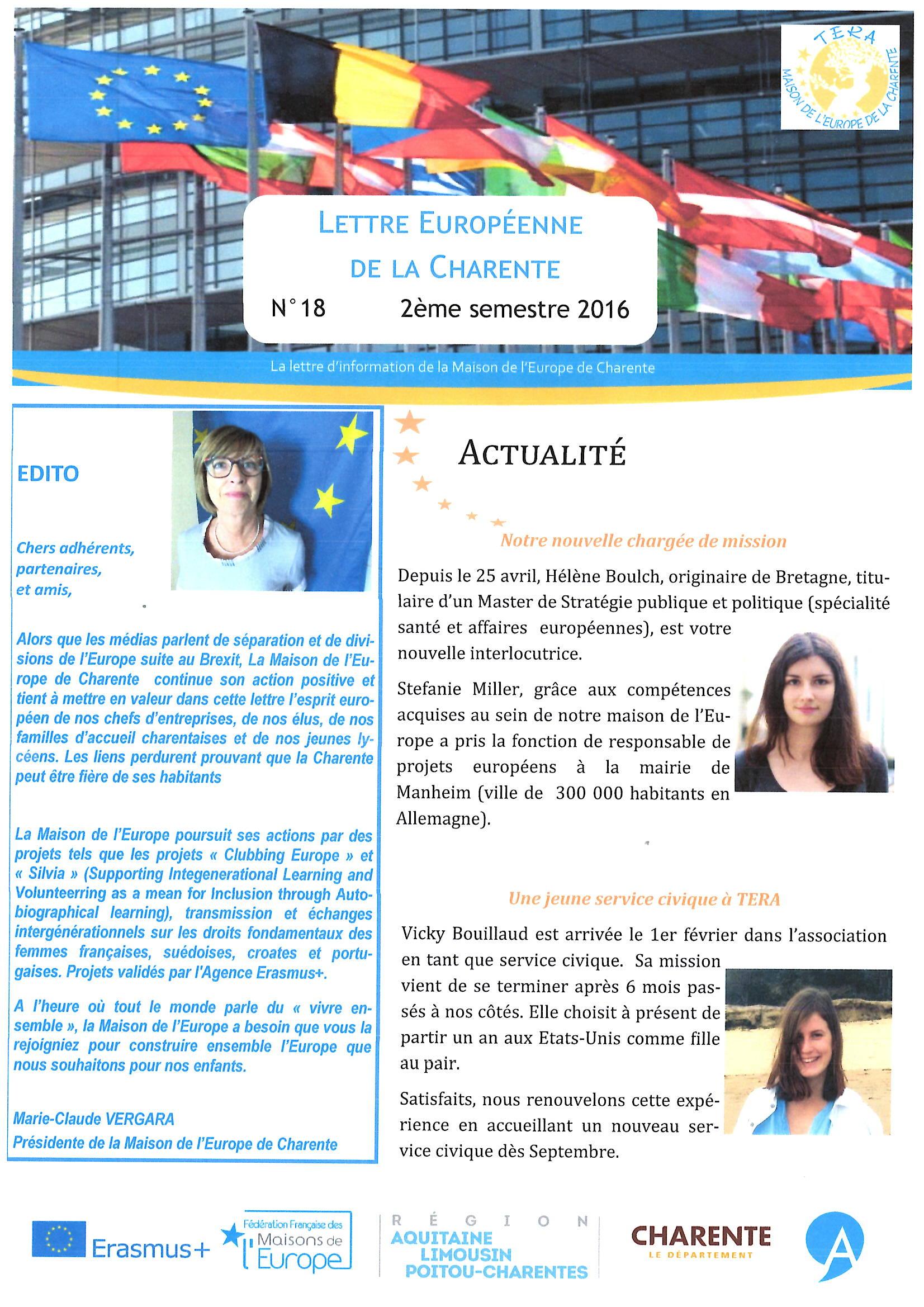 Lettre Européenne de la Charente n°18 du 2ème semestre 2016