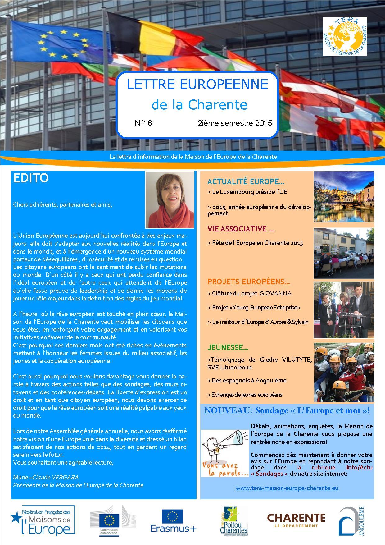 Lettre Européenne de la Charente N°16 du 2ième semestre