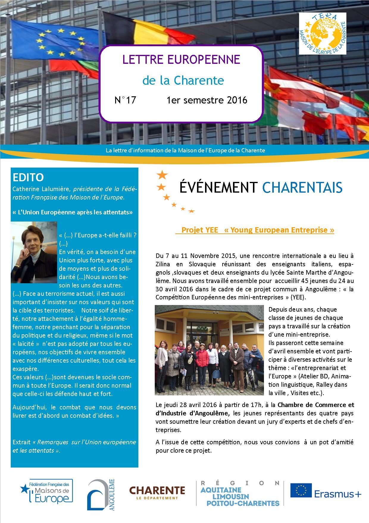 Lettre Européenne de la Charente n°17 du 1er semestre 2016